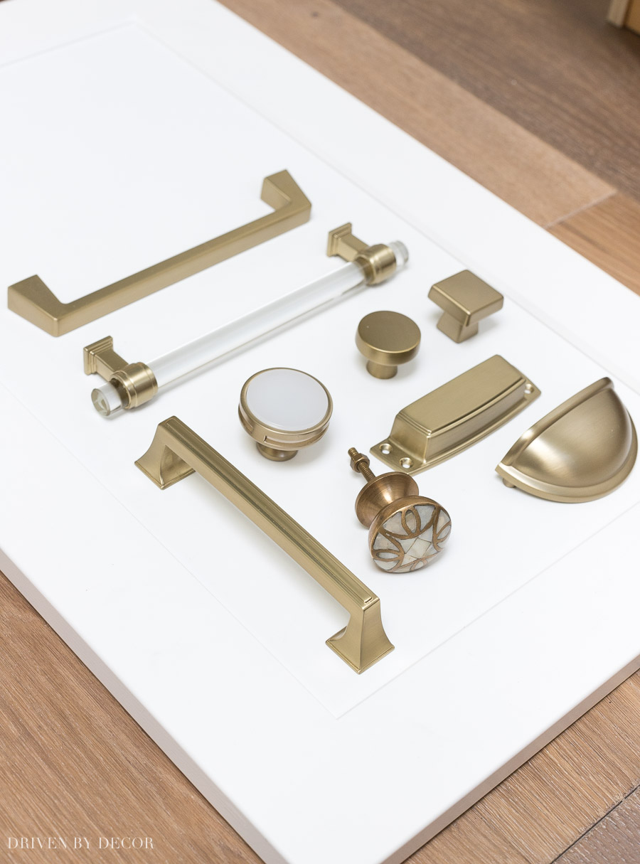GORGEOUS options for cabinet pulls and knobs in a soft brass finish! All sources in post!