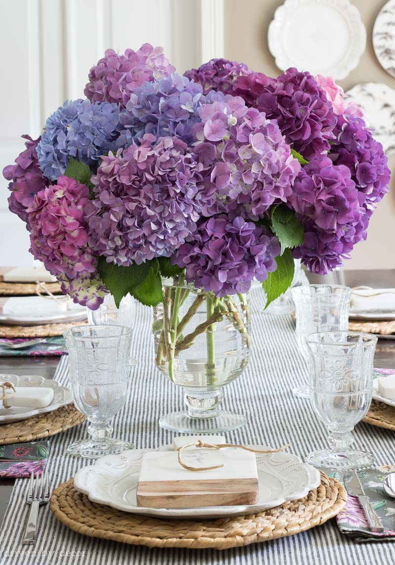 My favorite footed glass vase - perfect for fresh flower bouquets!
