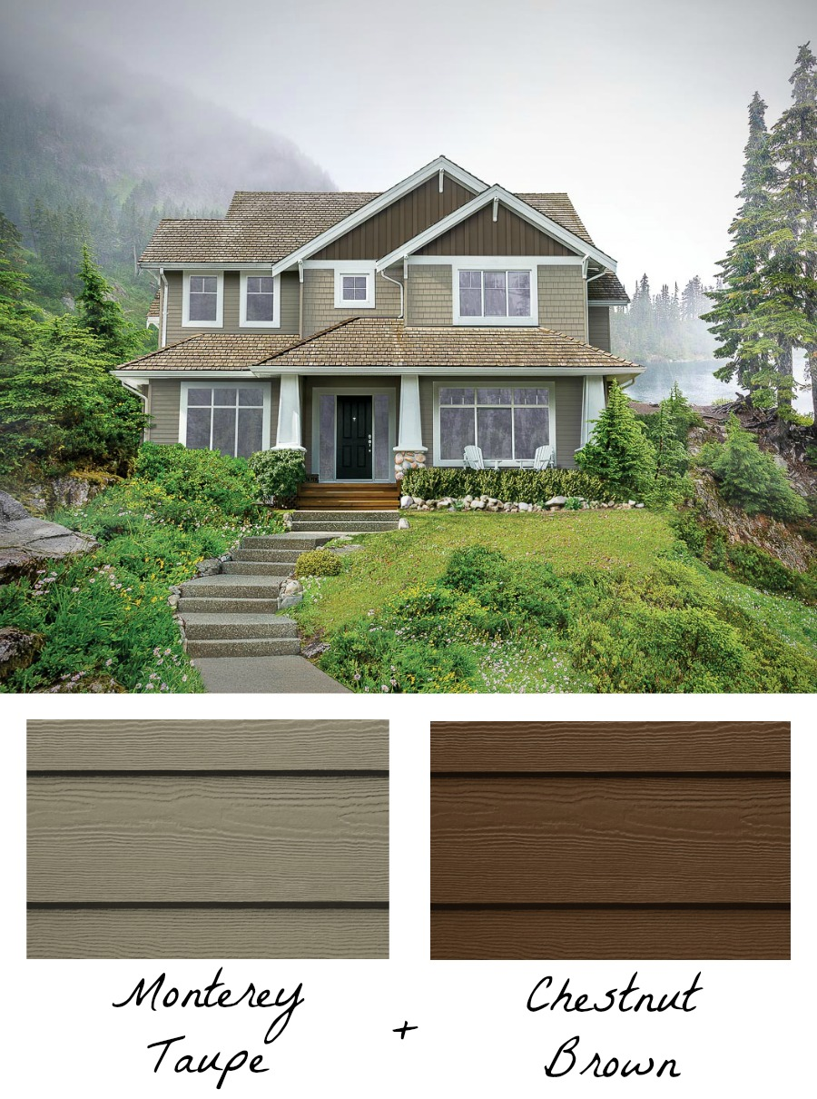 Gorgeous! Two shades of siding (HardiePlank & HardieShingle in Monterey Taupe and HardiePanel & HardieTrim in Chestnut Brown) is a great home exterior color combination!