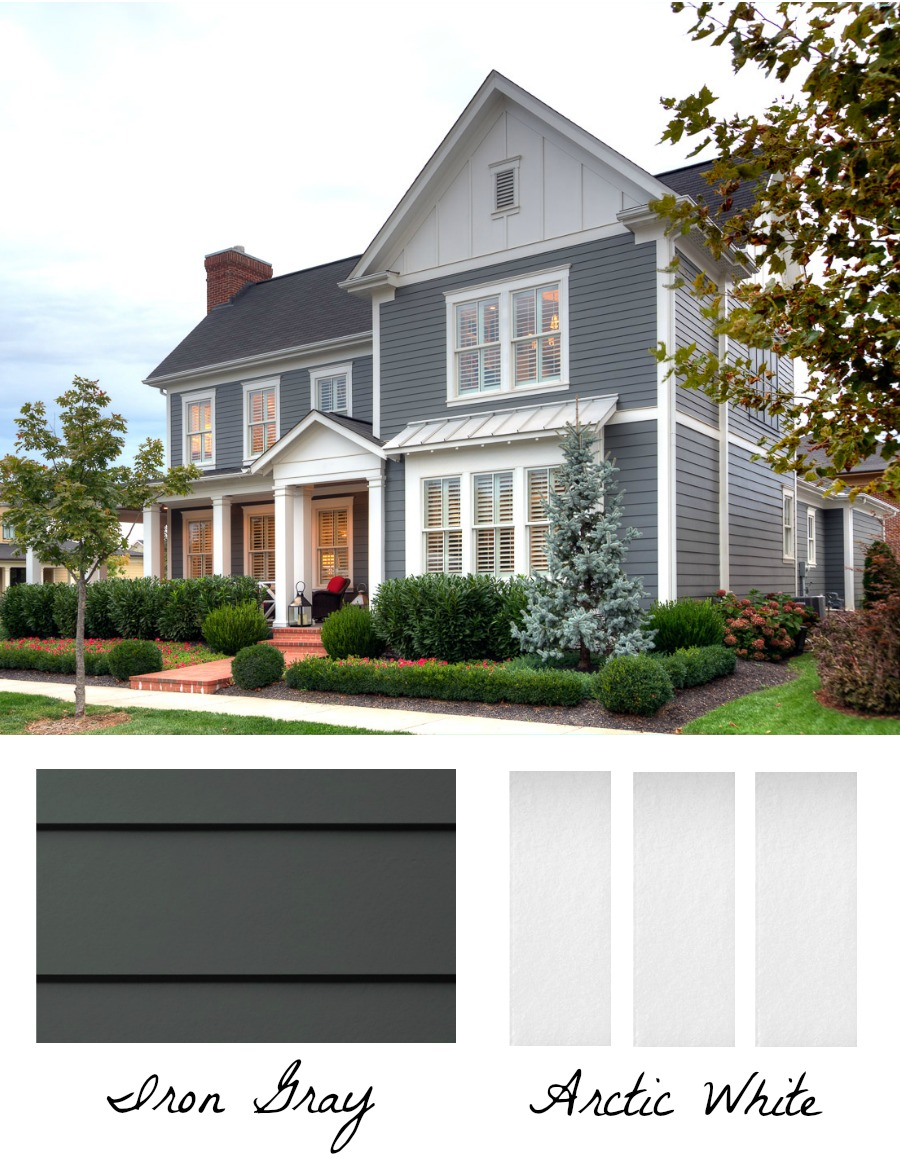 Gorgeous exterior home color combination of iron gray HardiePlank and Arctic White HardieTrim Batten Boards and Vertical Siding