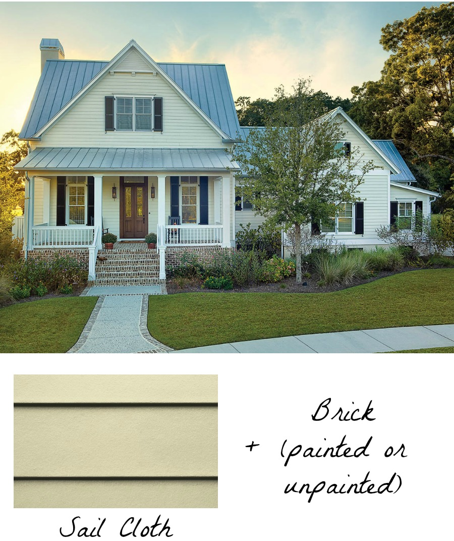 Love the idea of combining HardiePlank siding with brick - gorgeous!