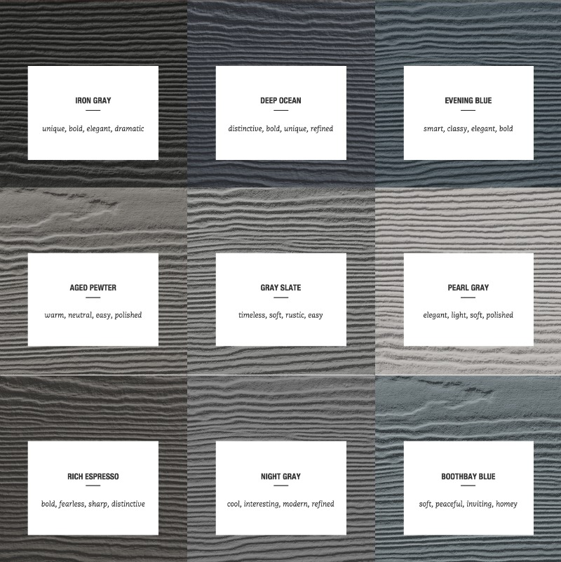 These siding colors are gorgeous!!! They'd all look fabulous paired with the Arctic White trim!