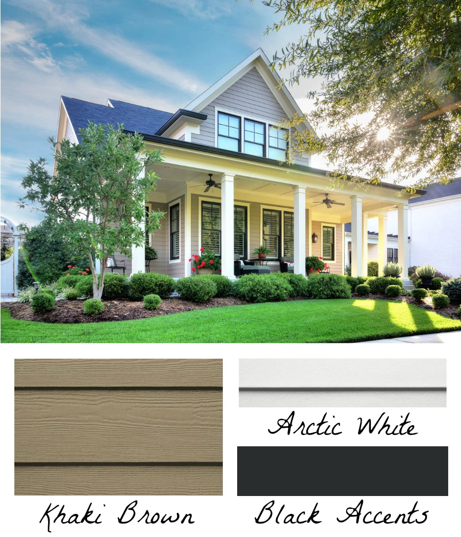 Totally saving this exterior home color idea - use both black and white trim! Looks gorgeous with the Khaki Brown HardiePlank!