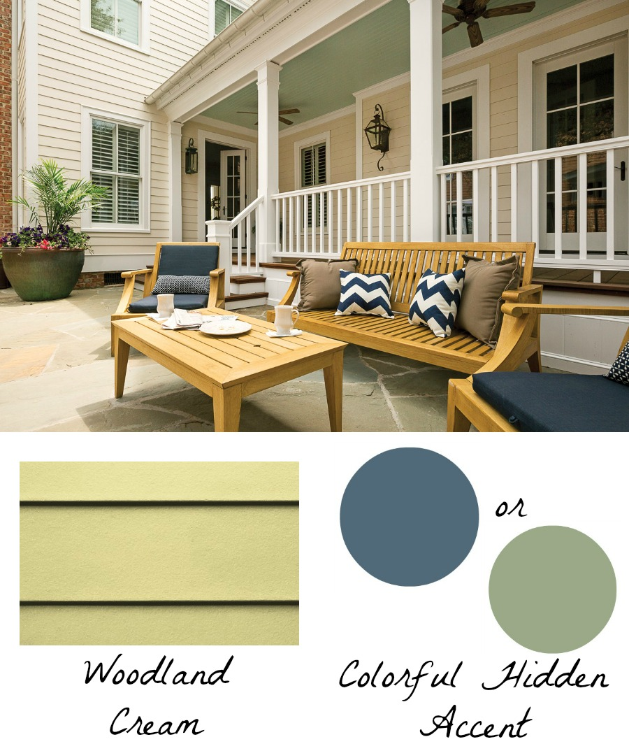 Love the idea of adding a pop of color in an unexpected place - so many options with HardiePlank in Woodland Cream!