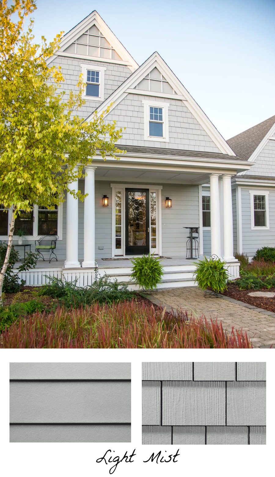 Love the idea of using one exterior color but two different types of siding for my home's exterior like this Light Mist HardiePlank and HardieShingle Siding!