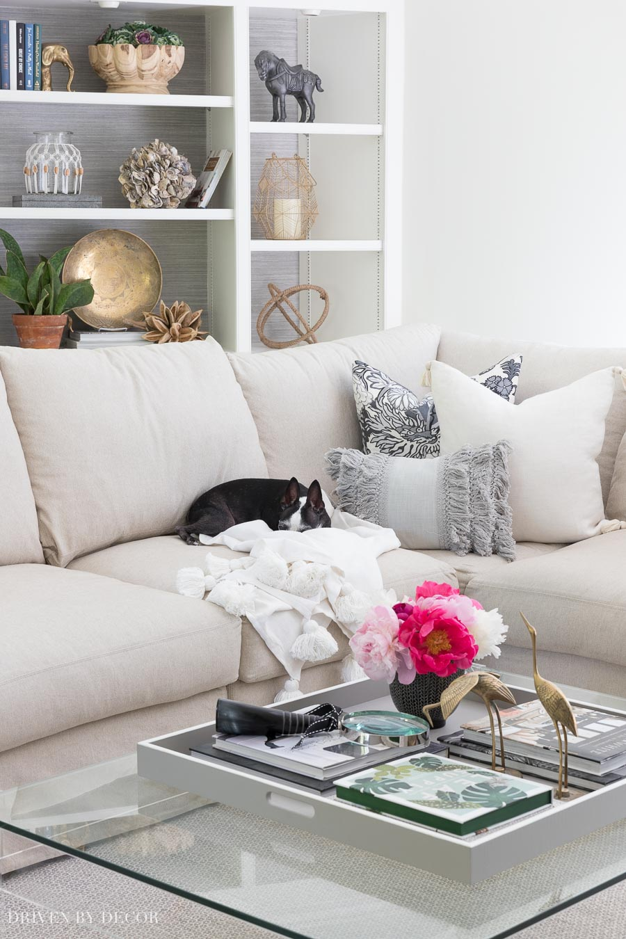Love this combination of pillows, including the gray fringe lumbar pillow from Nordstrom!