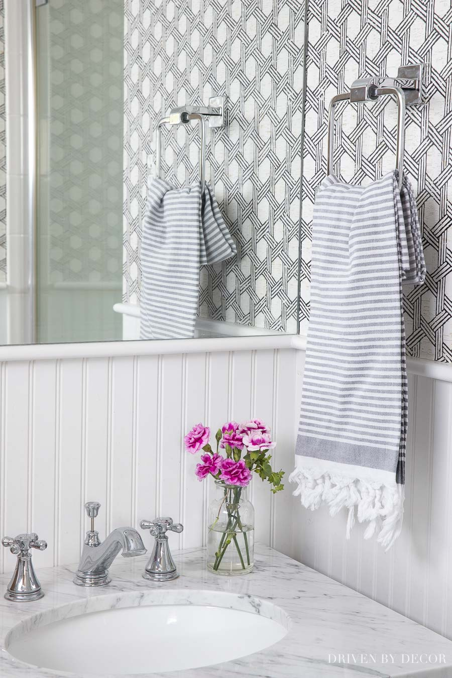 Cute gray striped Turkish towel - the perfect bathroom hand towel!