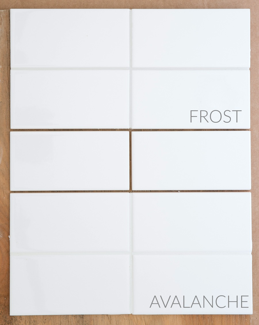 Light gray versus white grout on white subway tiles - Mapei Frost vs. Avalanche