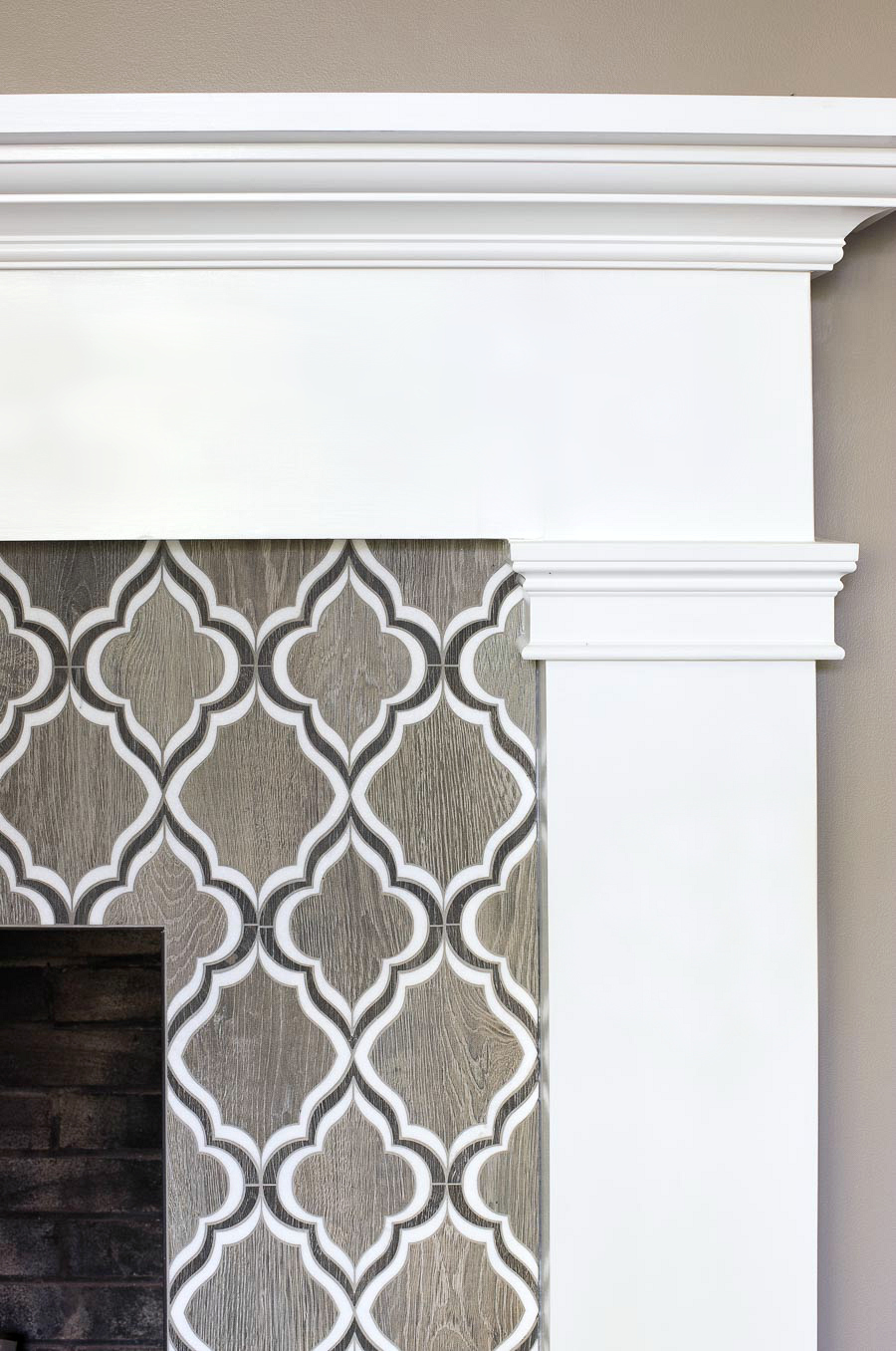 Our fireplace tile with Polyblend Natural Gray grout