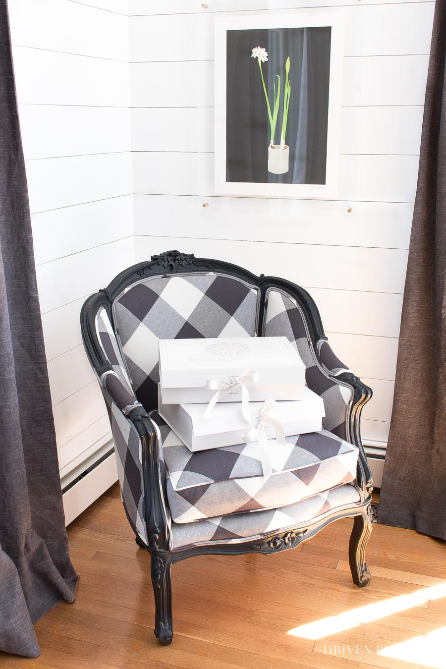 Give an old chair new life by reupholstering in an updated fabric! Love this black and white buffalo check!