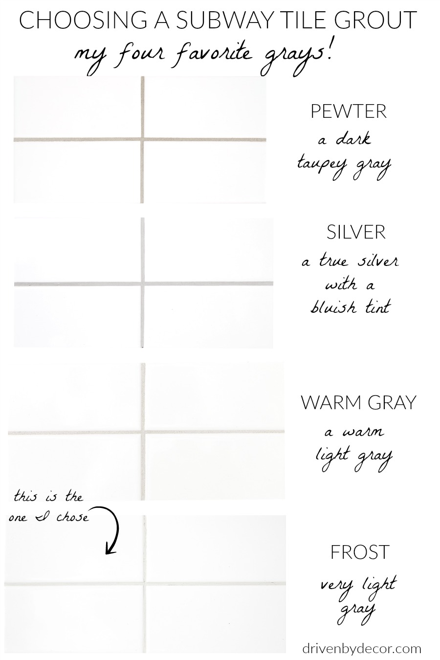 White subway tile with gray grout - my favorite grays to choose from