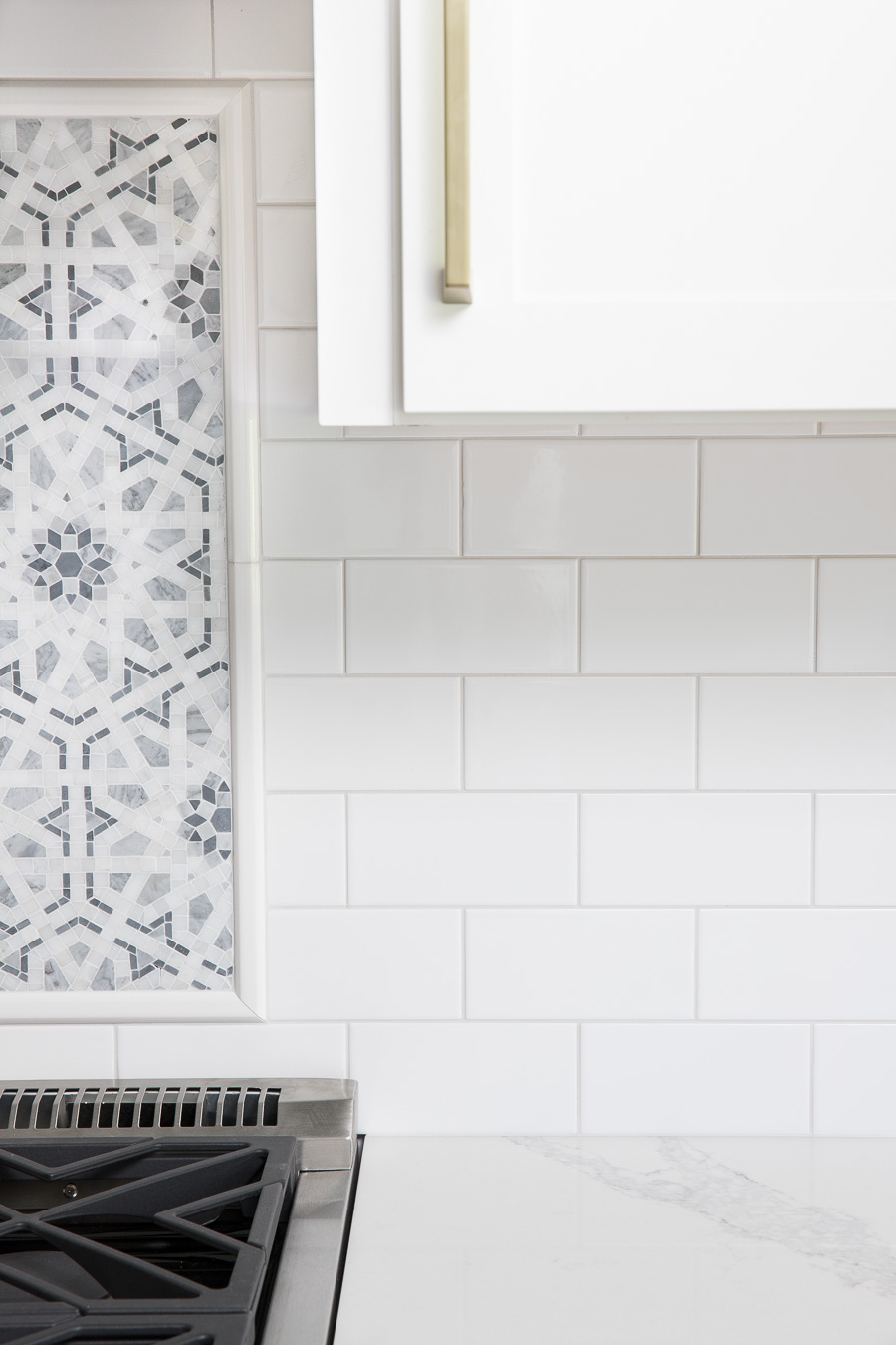 The light gray grout I chose for my white subway tile (Mapei Keracolor Frost)