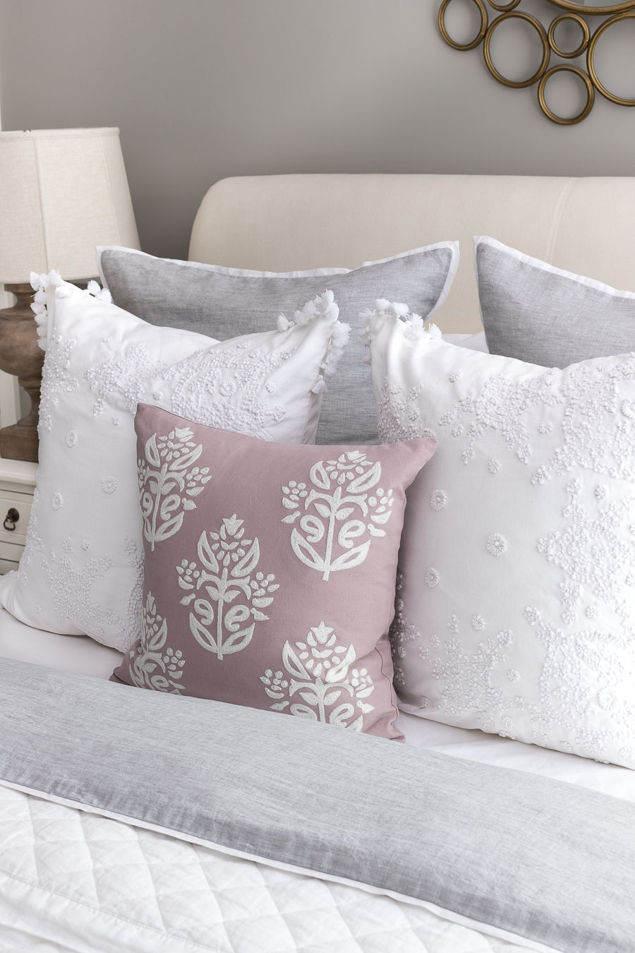 "The perfect pillow combination for a queen bed! Two Euro shams, two 22-24"" square pillows, and one smaller square or rectangular pillow."