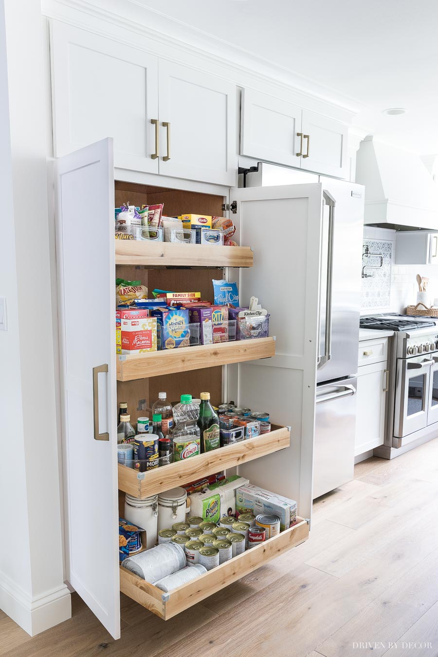 A large pantry was a must-have for my kitchen remodel! LOVE my new tall & deep pantry with pull out shelves - so much storage space!