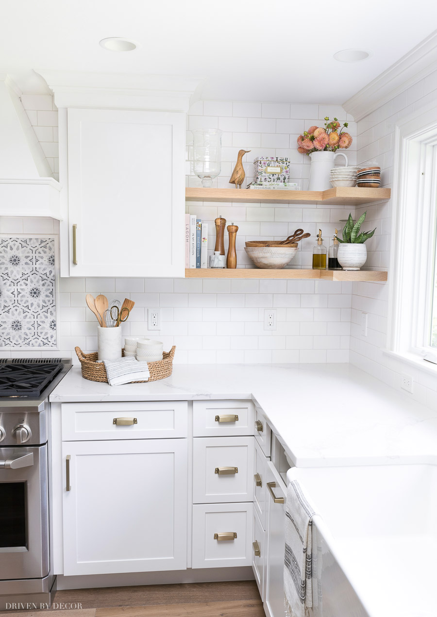 Open wood shelving that wraps around the corner - one of my favorite details of this kitchen remodel!