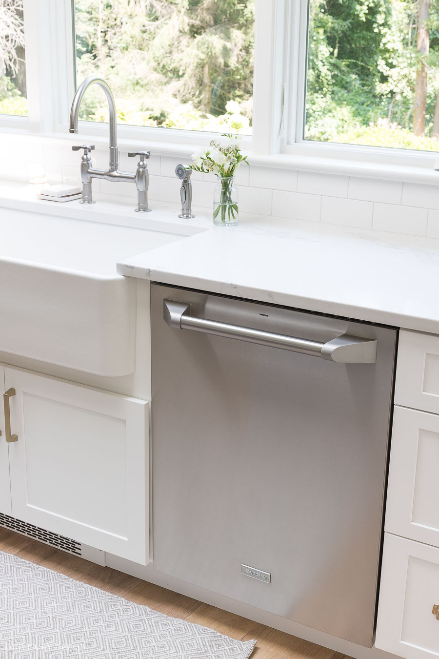 This Monogram dishwasher sits flush to the cabinets for a more built-in feel than most - love!