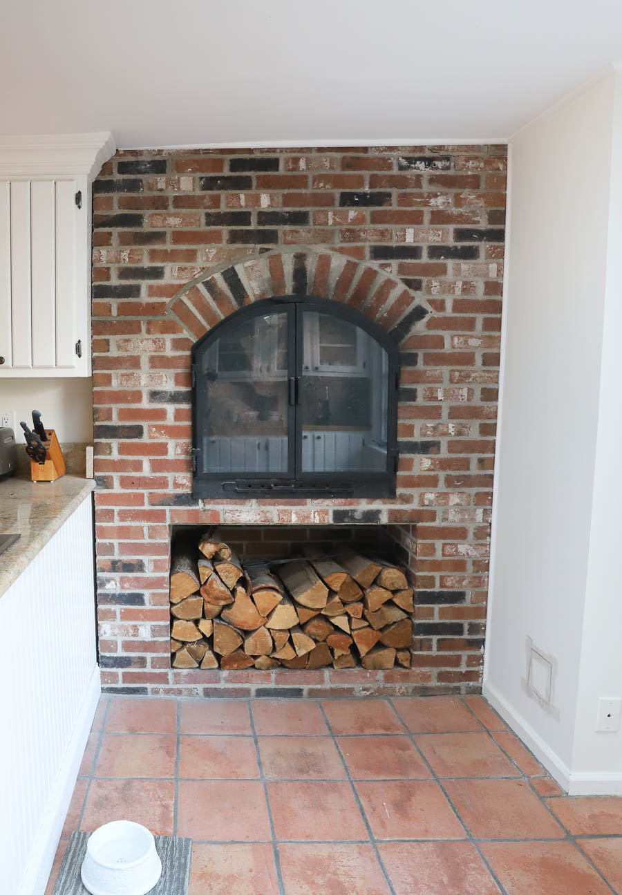 The brick fireplace in our kitchen