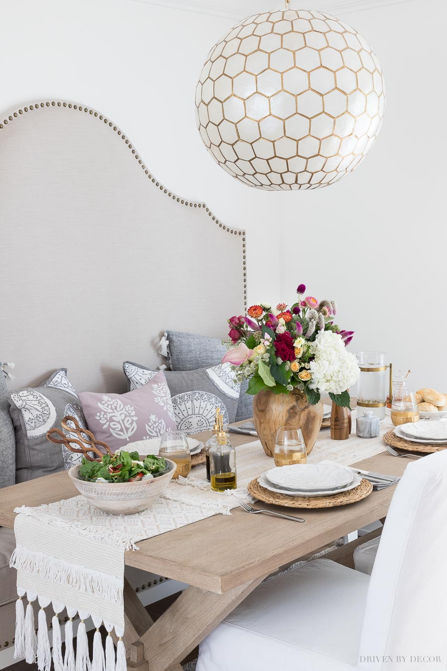 Gorgeous lighting for over a kitchen table! Capiz honeycomb pendant - source linked in post!