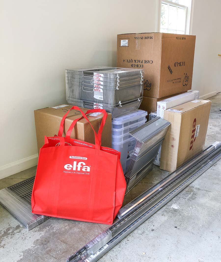 The delivery of our supplies for our new Elfa garage system!