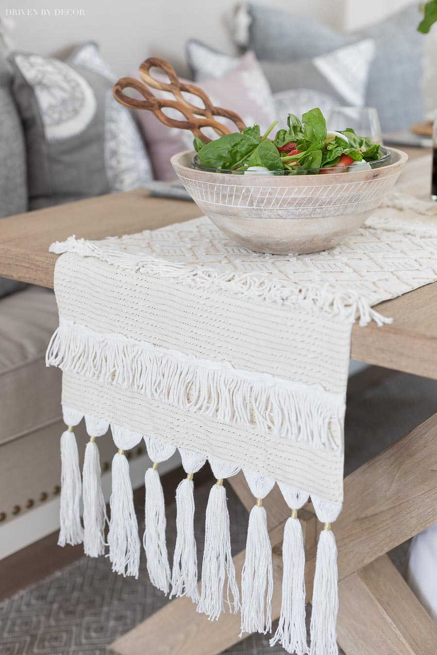 Gorgeous textured table runner with fringed ends!
