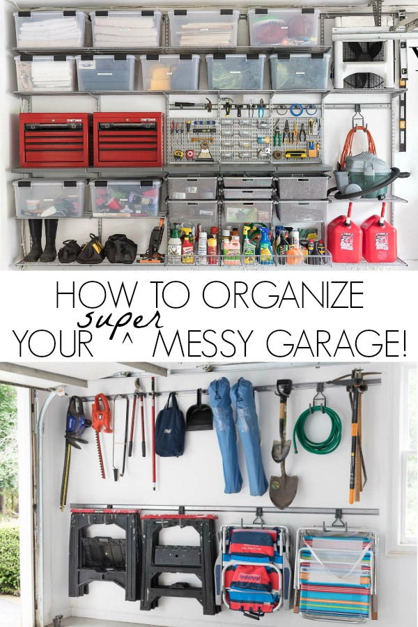 How to organize your super messy garage - step by step tips and how-to!