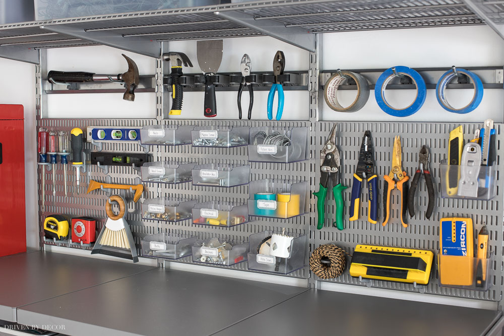 These Elfa utility boards are the best! Awesome way for organizing all of your most-used tools and hardware in your garage!