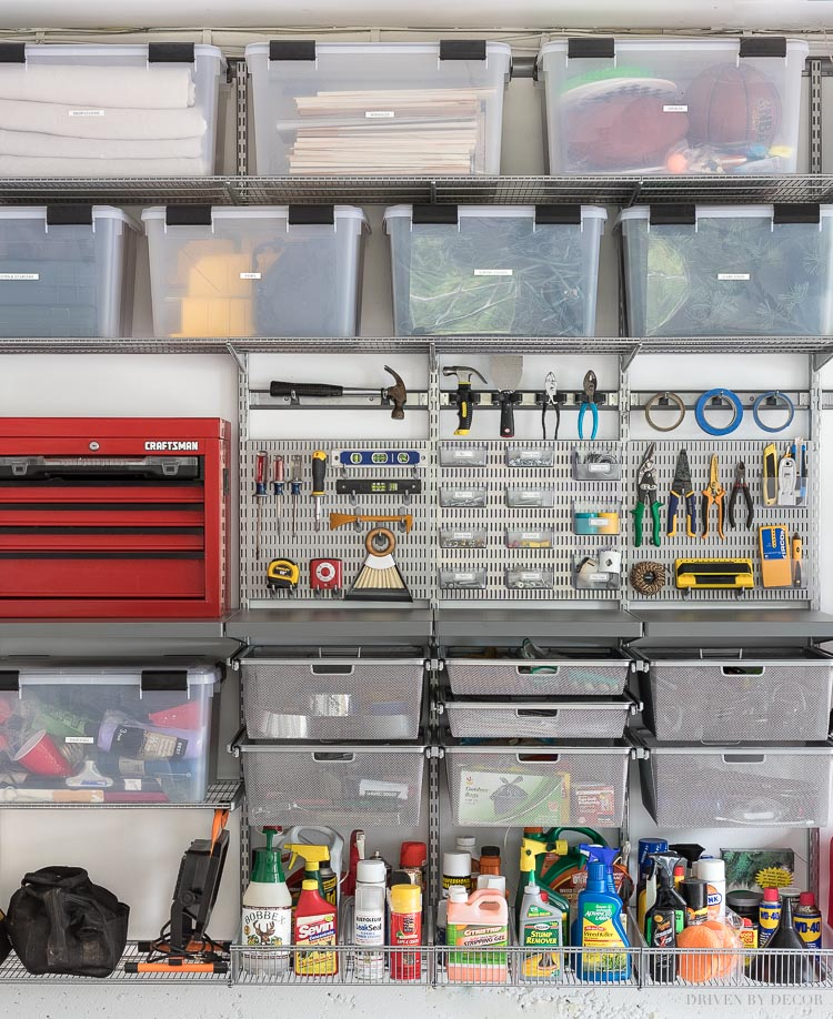 Loving these ideas for organizing your garage with the Elfa system!