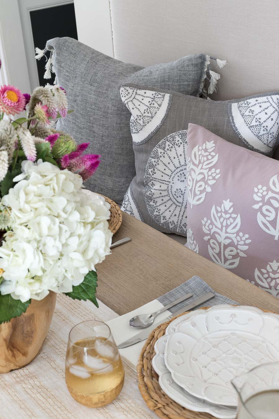 Pretty combination of lavender and gray pillows!