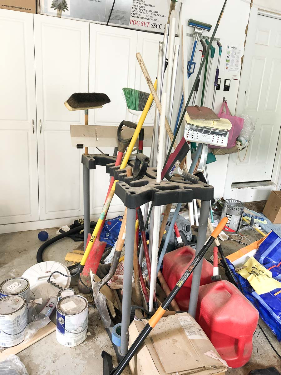 We were able to diss this old freestanding tool rack and find a new, organized garage solution for them!