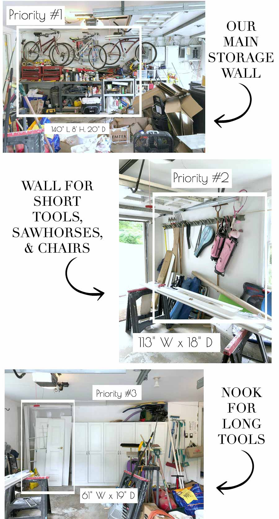 Steps in organizing our garage - taking measurements of wall spaces for new Elfa systems!