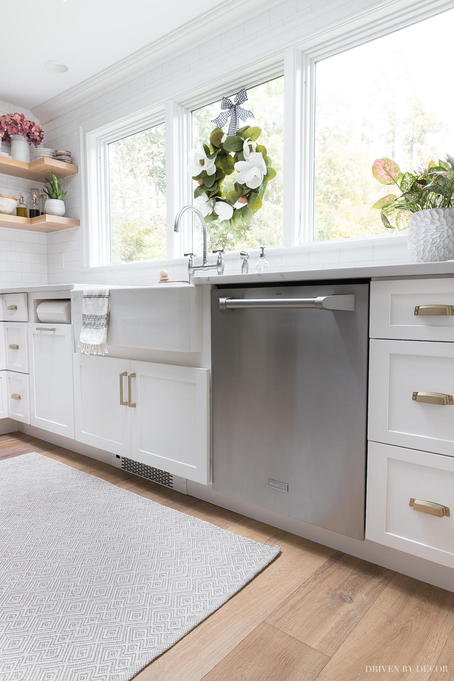 Love my Monogram dishwasher and that I can run my white toe kick in front of it to make it look built in!