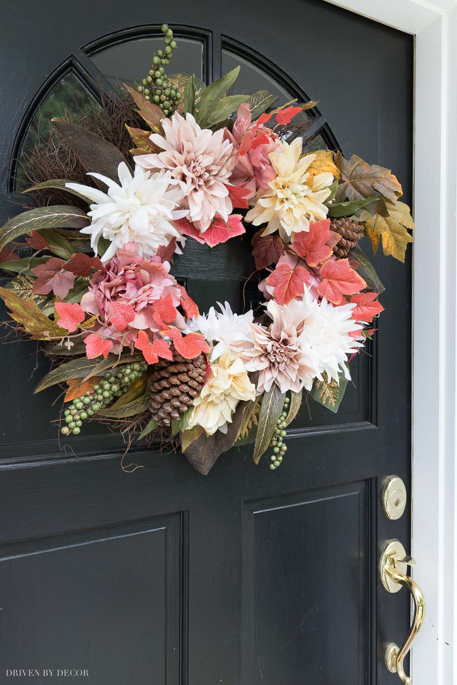 A gorgeous fall wreath for your front door - peonies, dahlias, pinecones, and leaves!