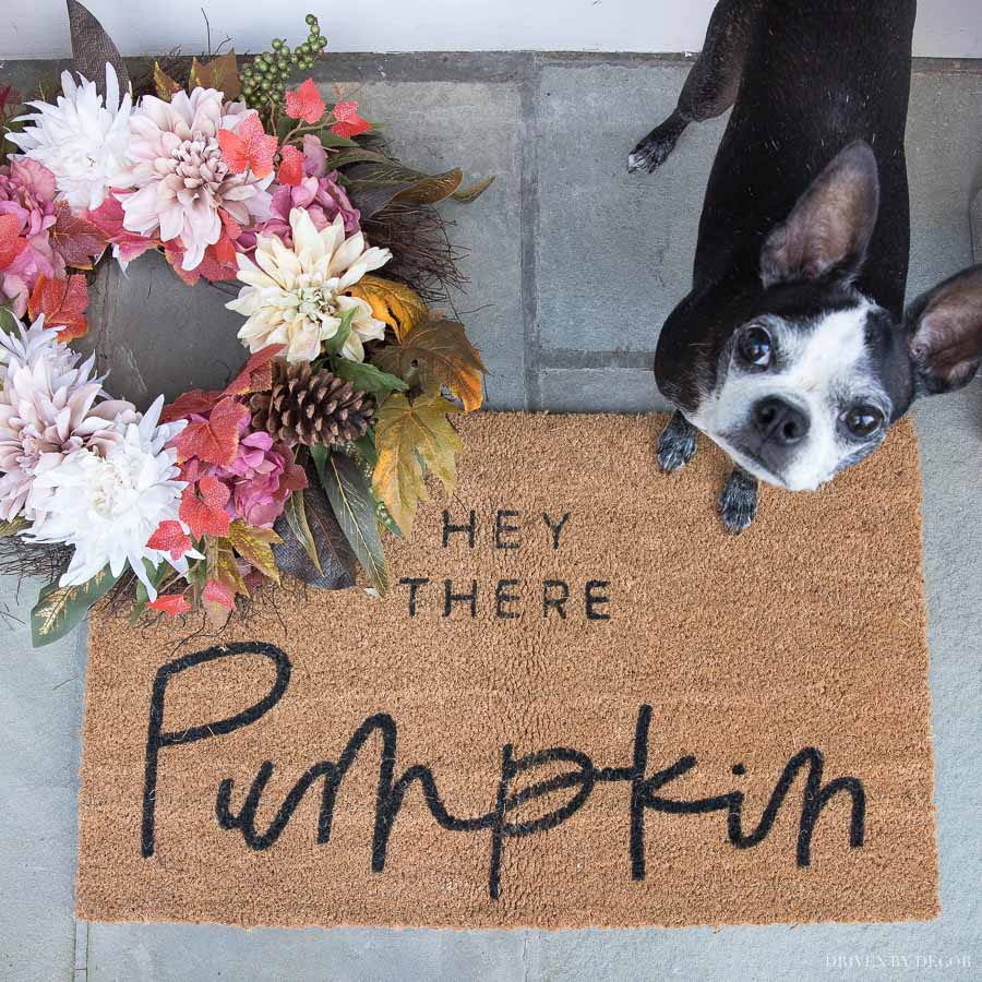 "Adorable fall ""hey there pumpkin"" doormat! She shares where she found it in this post!"