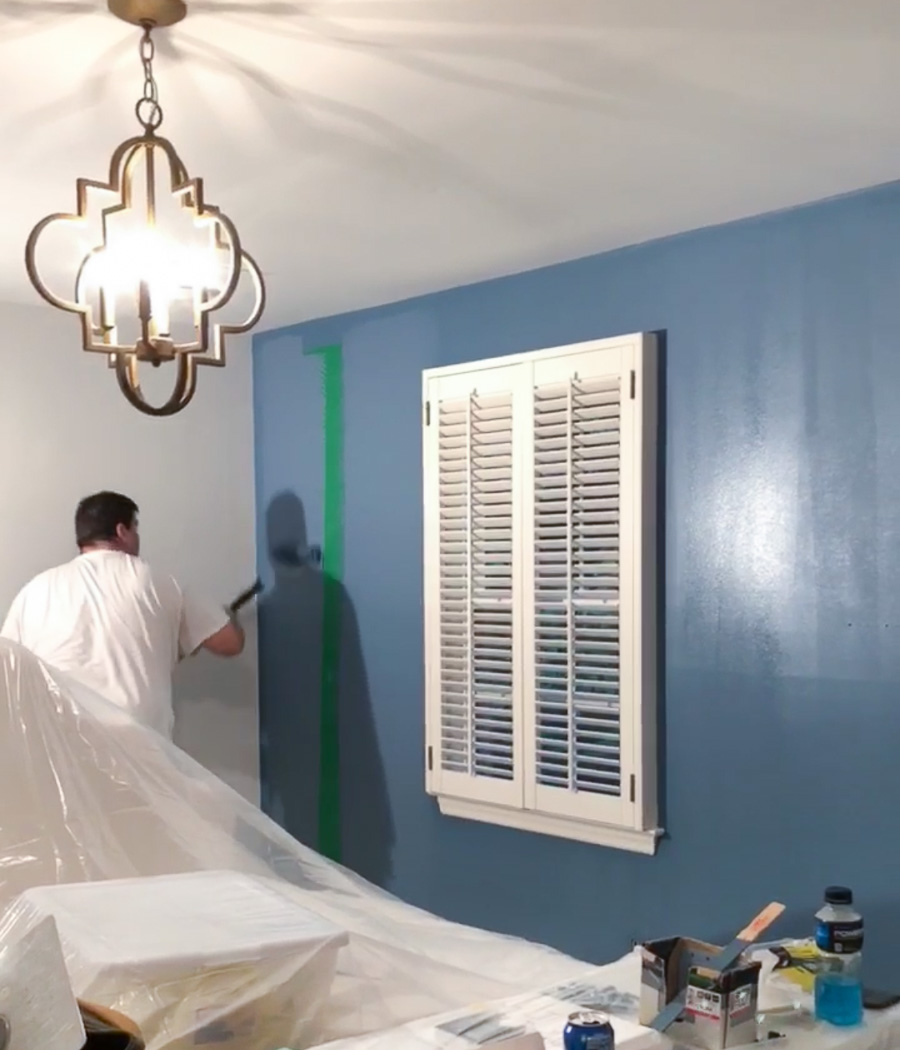 The one-coat coverage of Behr's Marquee paint is amazing! Even over this vibrant green!