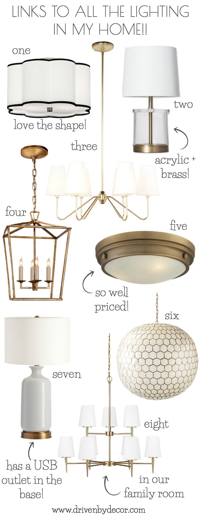 Love all the the light fixtures in her home!! They're all sourced in this helpful post on favorite lighting!
