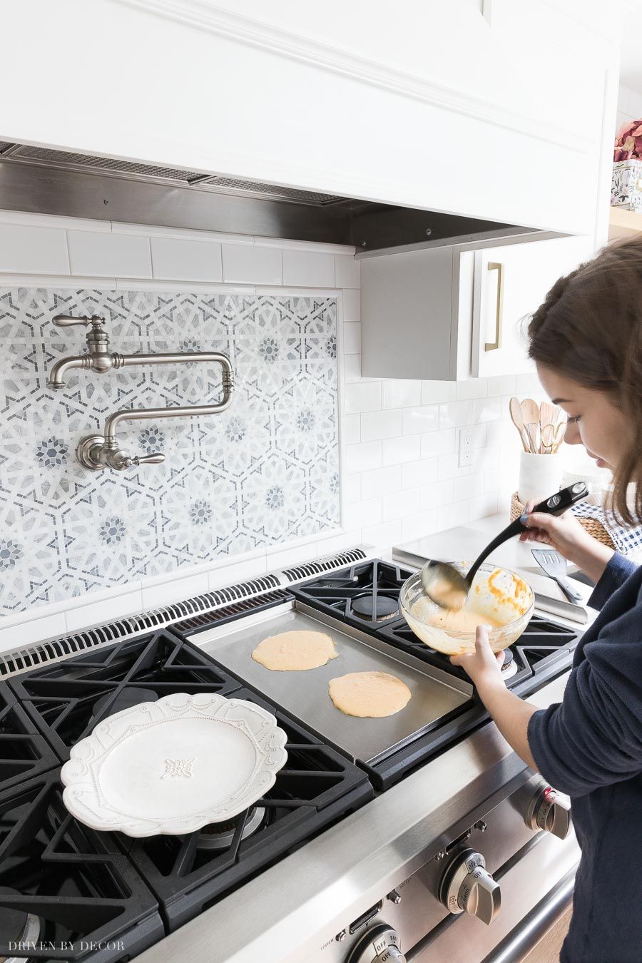 Love having a griddle built into our range! One of my favorite features of our new appliances!