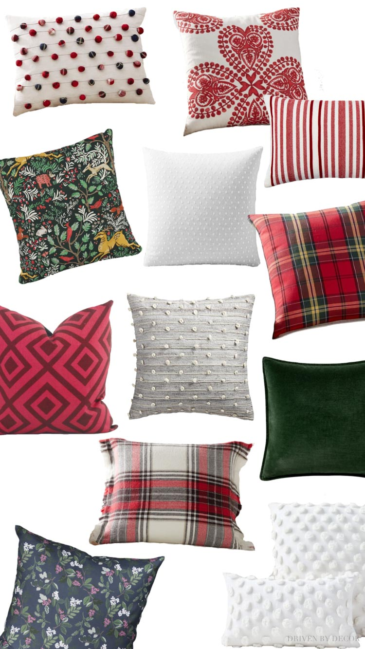 My favorite pillows for the holiday season! Love Christmas decorating!!