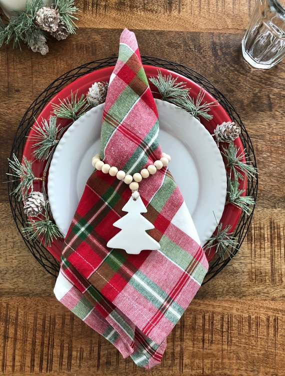 Loving this beaded clay napkin rings for our Christmas table!