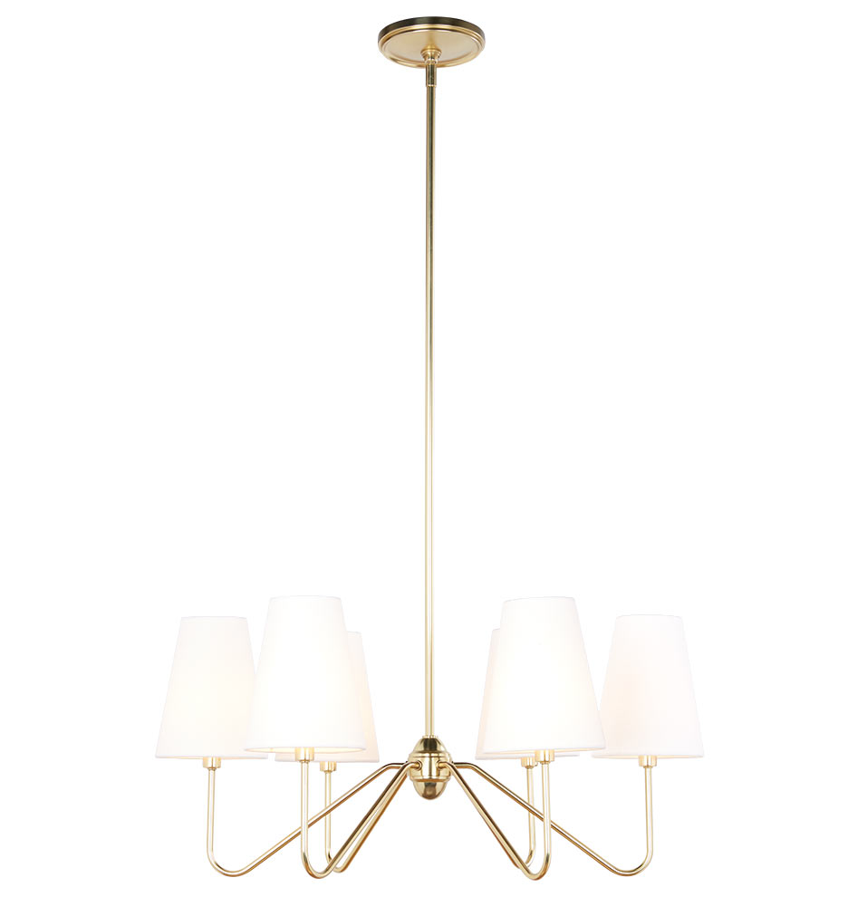 A beautiful, classic aged brass chandelier with shades