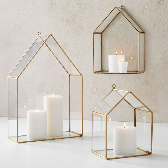 The CUTEST holiday decorations! So in love with these glass candlelight houses for a fireplace mantel, side table, or just about anywhere!