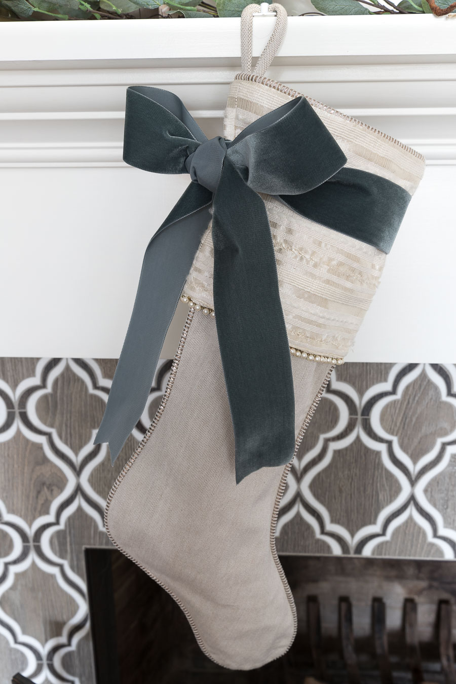 Gorgeous gray velvet ribbon dresses up these stockings for Christmas!