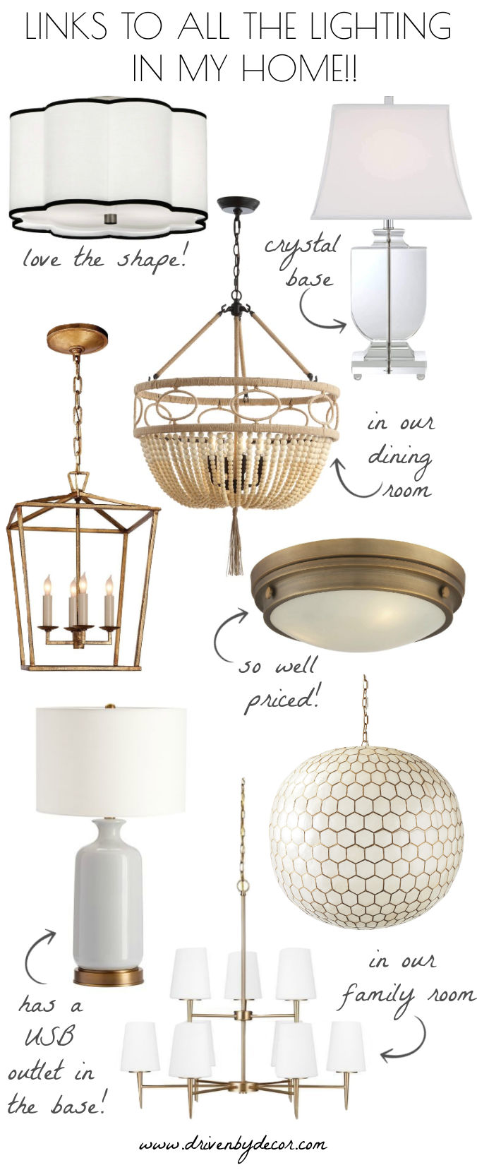The light fixtures we chose for our home!