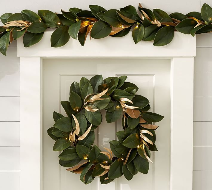 Gorgeous magnolia leaf garland for around your doorway or your fireplace mantel at Christmas!