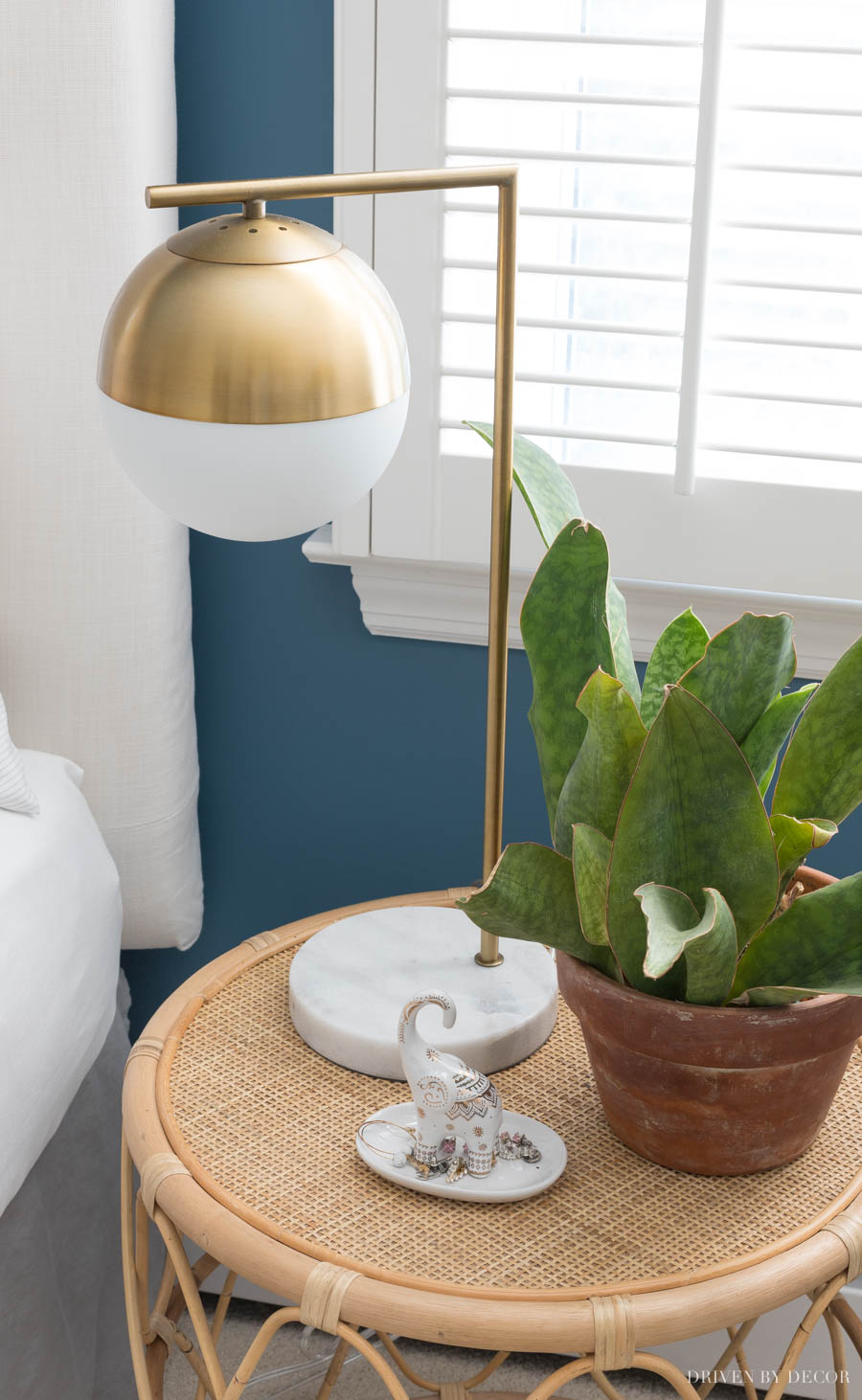 Such a great price for a brass globe lamp! Love the marble base!