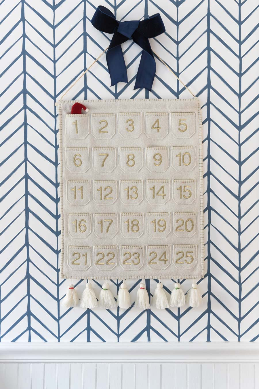 Gorgeous navy velvet ribbon for hiding the hanger of our advent calendar!