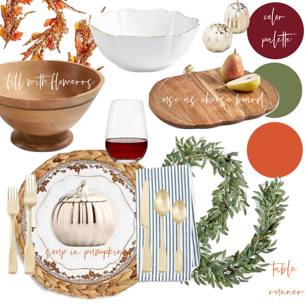 Love these Thanksgiving table decorations! Especially the pumpkin soup bowls!!