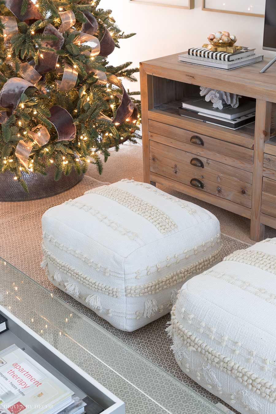 These floor poufs are perfect for extra seating and game nights around the coffee table!