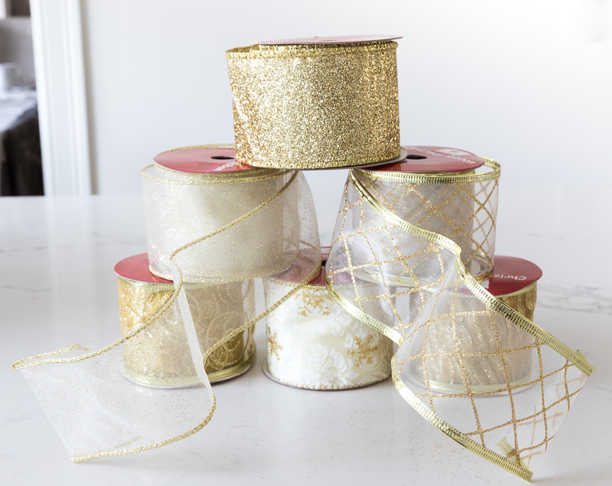 This sheer gold wired ribbon is perfect for decorating your Christmas tree!
