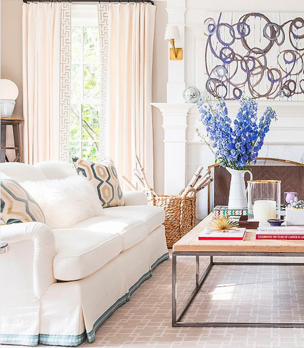 Gorgeous living room from the home of Sue De Chiara of The Zhush