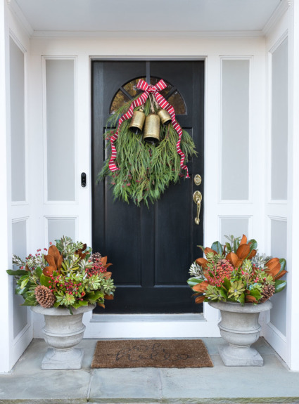 Decorating Our Front Porch for Christmas: Our Holiday Swag & Planters